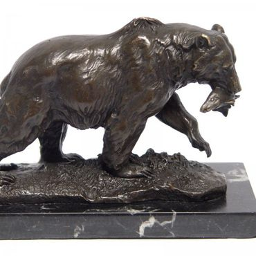 Bear with Fish Animal Bronze Figure 13cm Art Home Lost Wax Wild Forest Bear  – image 2