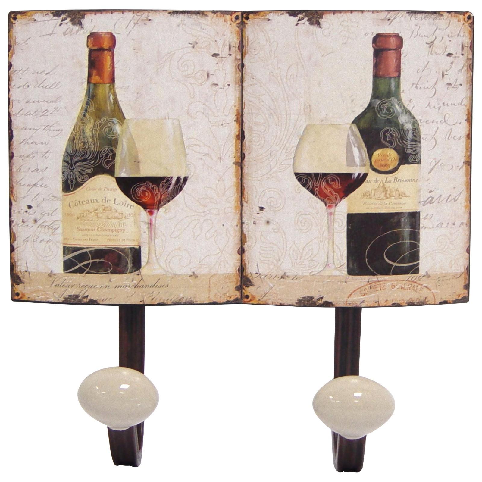 weinflaschen motiv garderobenhaken metall vintage 2fach. Black Bedroom Furniture Sets. Home Design Ideas