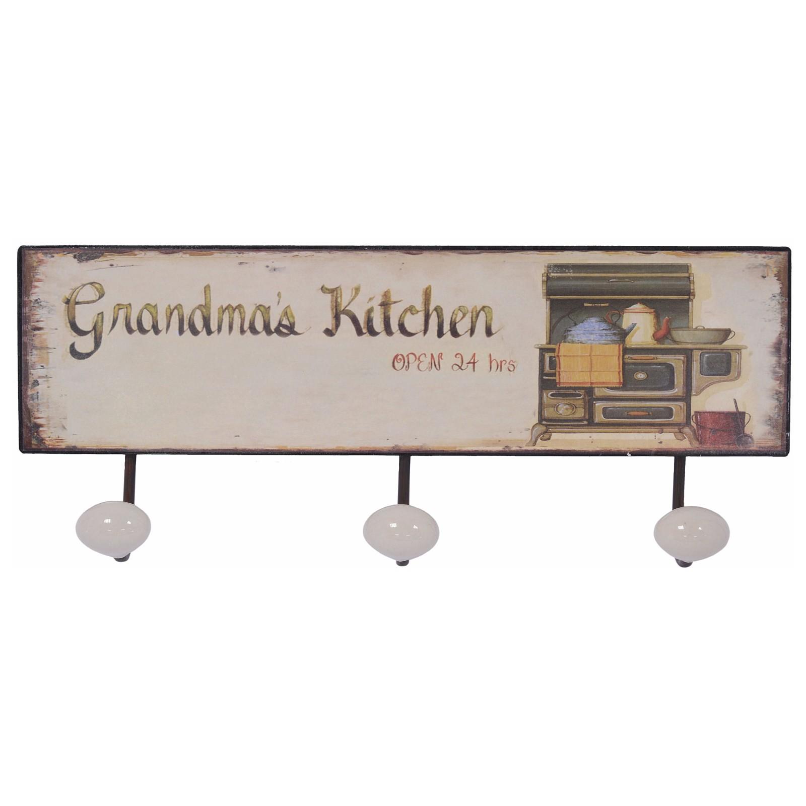 k chen wandhaken metall grandma 39 s kitchen haken 3er hakenleiste handtuchhalter. Black Bedroom Furniture Sets. Home Design Ideas