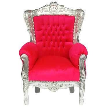 Fun Kid Throne Bright Pink Silver Carved Wood Frame Baroque Furniture – image 1