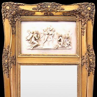 Higher wall mirror golden 3D image Baroque scene woman child vintage nostalgia mirror – image 2