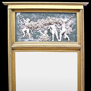 Mirror in the bedroom cheval mirror gold vintage mirror 3D putti angels white – image 2