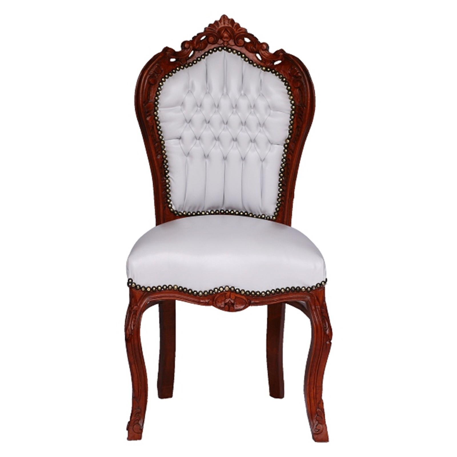 Beau Brown Leather Dining Chairs, Elegant Chair, White Faux Leather, Solid Wood  001