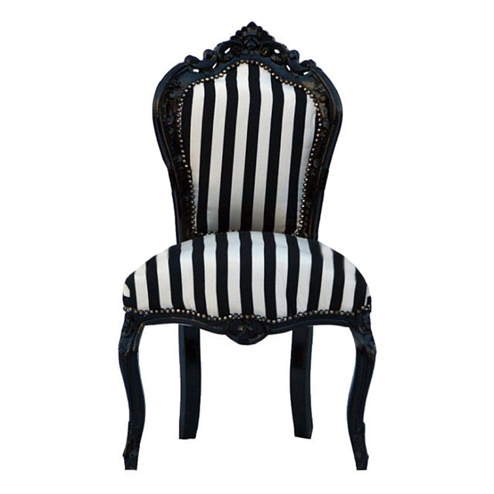 Striped Chair Black Wood Frame Black And White French U2013 Bild 1