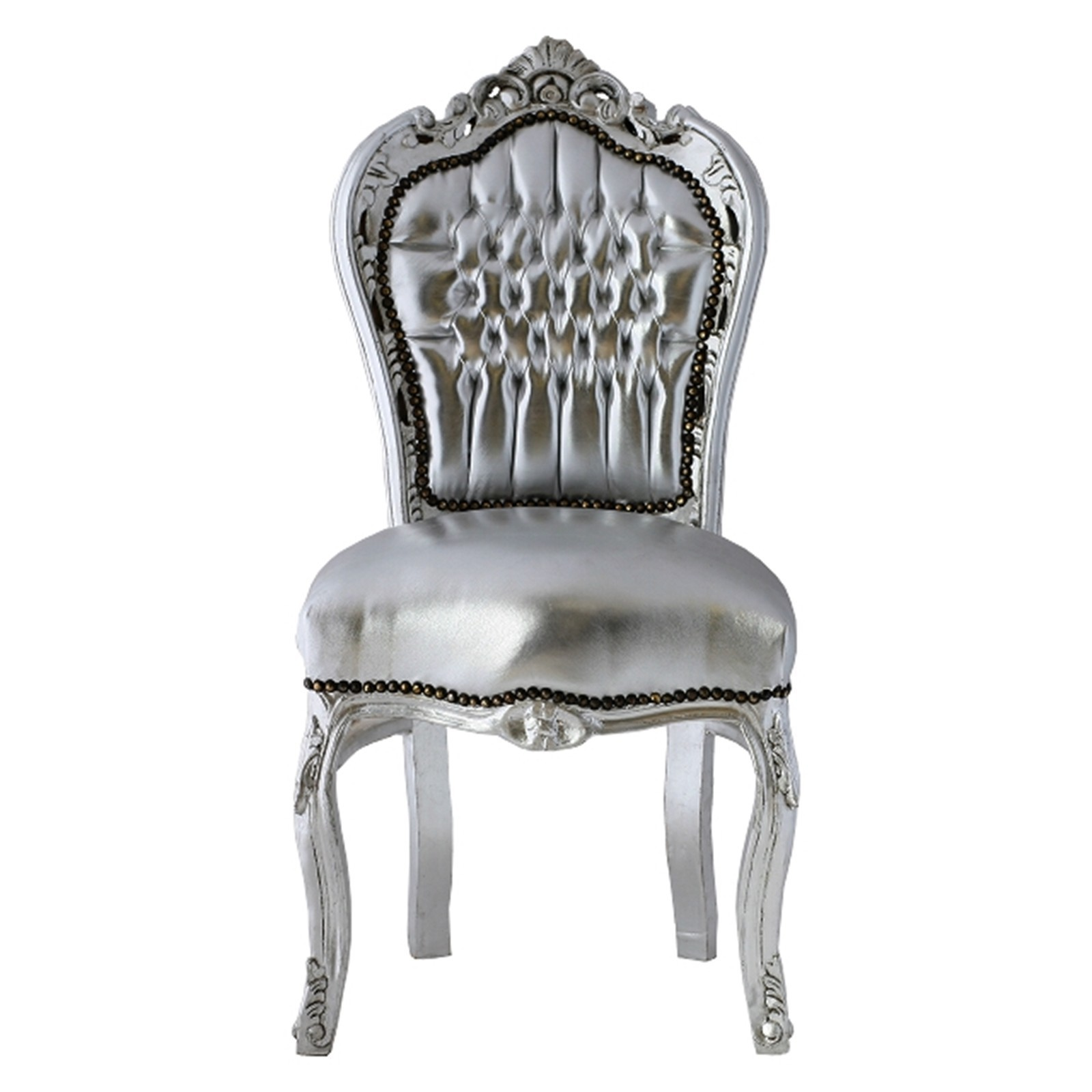 Charmant Synthetic Leather Chair Silver Leafed With Silver French U2013 Bild 1