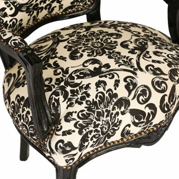 Bedroom, furniture, chair, Shabby chic in brocade floral print, black frame – image 5