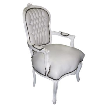 Arm chair, antique replica, accent, side-chair in white Faux-leather, solid wood – image 2