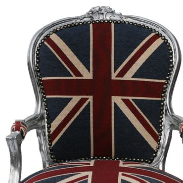 Bedroom chairs, side chair with silver-leafed frame in Jack Union print  – image 2