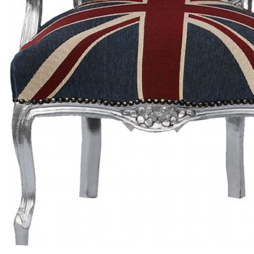 Bedroom chairs, side chair with silver-leafed frame in Jack Union print  – image 5