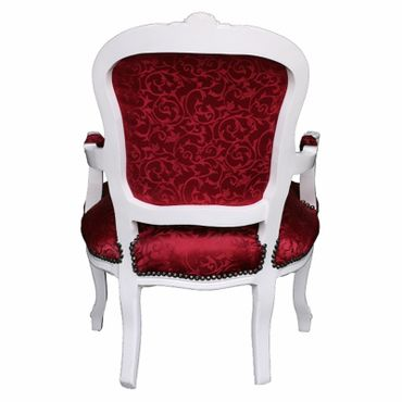 Chair for sale, chair in lovely red with floral pattern, antique-white frame – image 4