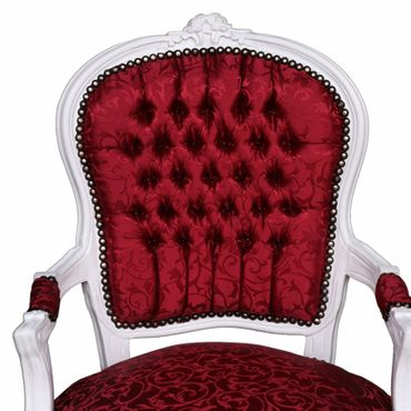 Chair for sale, chair in lovely red with floral pattern, antique-white frame – image 5