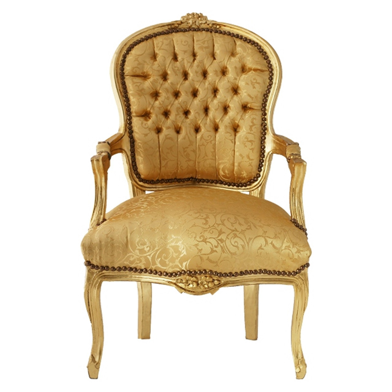 bedroom chair in gold with lovely floral pattern gold leafed wood frame bild