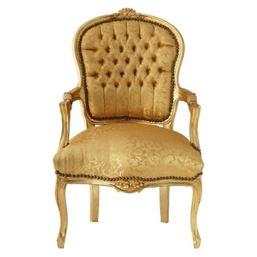 Bedroom chair in gold with lovely floral pattern, gold-leafed wood frame – image 1