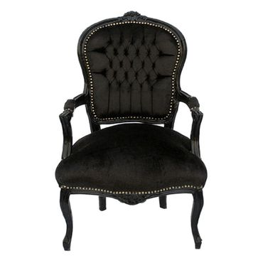 Chairs bedroom, side chair with glossy black frame in black    – image 1