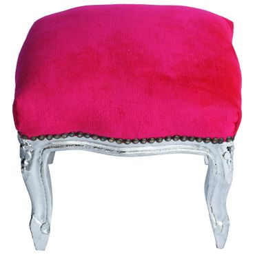 Vanity stool antique style, ottoman, silver-leafed frame, in hot pink  – image 1