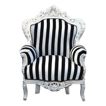 Retro furniture, throne, antique style, black/white, antique-white frame