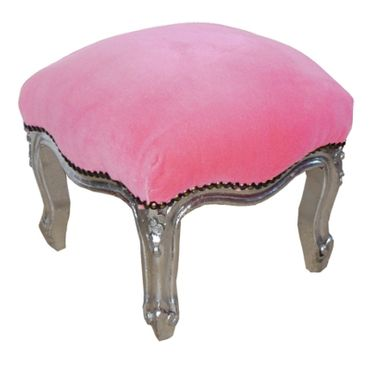 Upholstered Ottoman baroque style silver-leafed pink