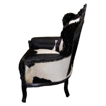 French Louis throne, shabby chic, cowhide – image 3