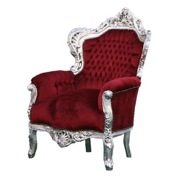 Red Throne silver-leafed solid wood red velvet – image 2