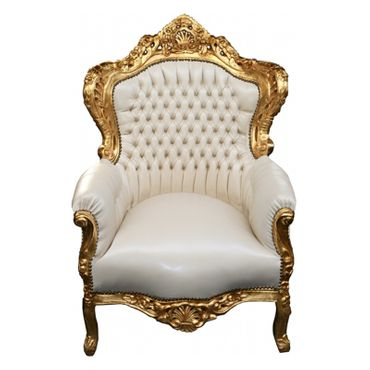 Wedding throne gold-leafed beige synthetic leather – image 1