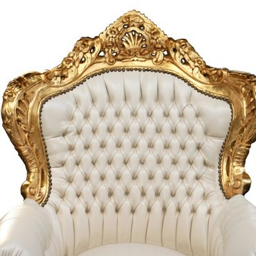 Wedding throne gold-leafed beige synthetic leather – image 2
