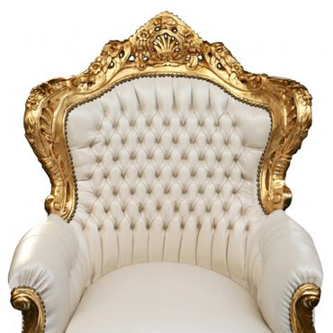 Wedding throne gold-leafed beige synthetic leather – image 4