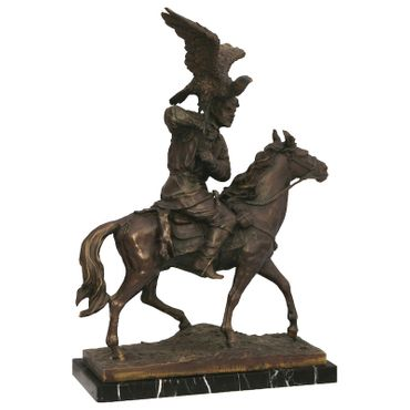 Air strike of a bird on a rider's shoulder, the rider sits upon a horse. This bronze sculpture is perfect for decorating your home or garden. – image 5