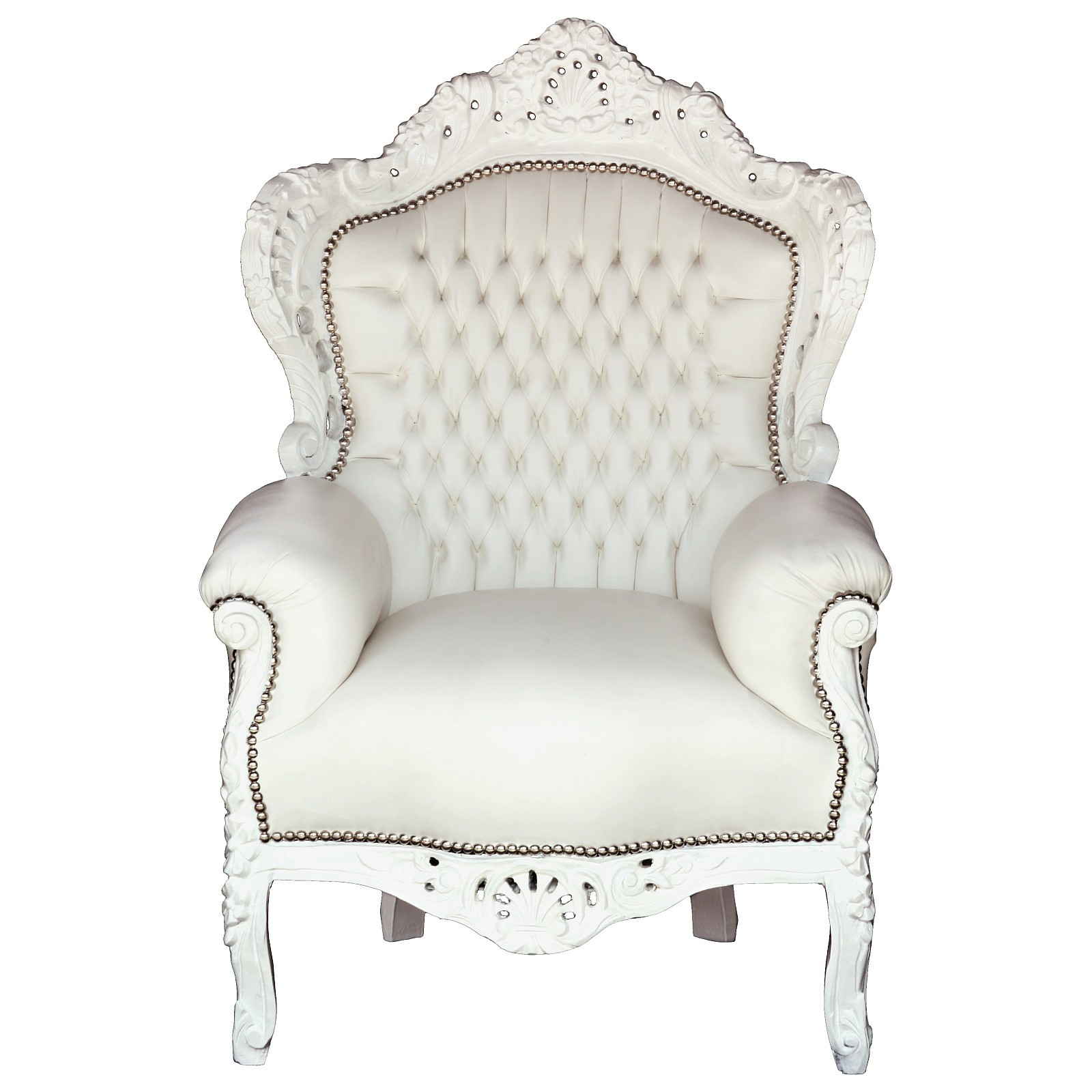 Beau Throne Style Chairs Wood White Synthetic Leather U2013 Bild 1