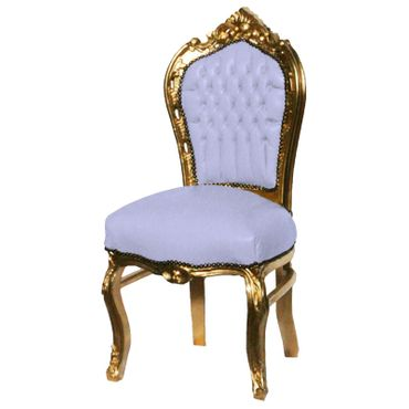 Baroque Dining Room Chair Gold Wood Frame White Leatherette Cushions    – image 2