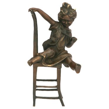 Sculpture figurine statue bronze figure child ornament garden kitten collectable – image 1
