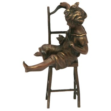 Sculpture figurine statue bronze figure child ornament garden kitten collectable – image 3
