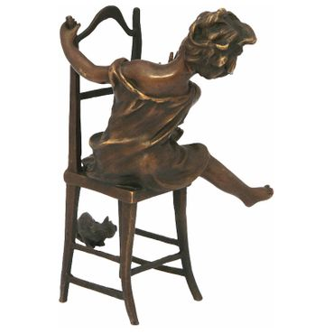 Naughty little girl with cat on chair bronze statue funny Deco Figurine – image 4