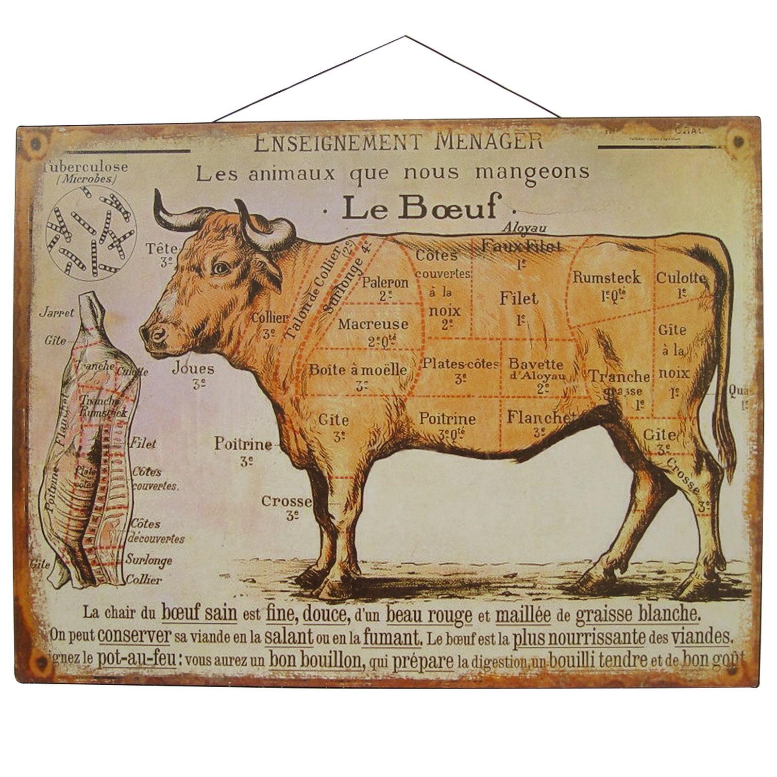 Lehrtafeln französische Küche 2 Blechschilder Schaf und Rind ...