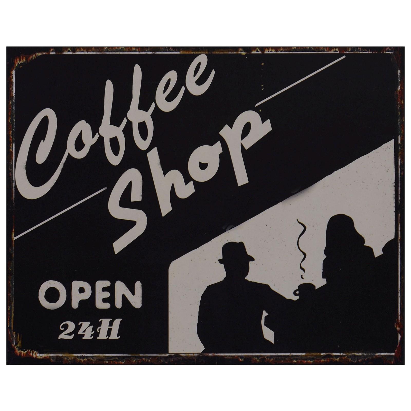 coffee shop blechschild schwarzwei schattenbild dekoration cafe zuhause b ro. Black Bedroom Furniture Sets. Home Design Ideas