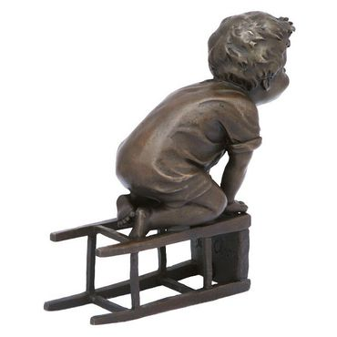 SPECIAL PRICES Naughty Little boy bronze sculpture child barstool figure – image 4