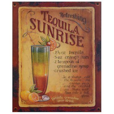 Tequila Sunrise cocktail recipe vintage tin sign retro nostalgic wall decoration