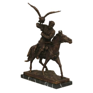 Air strike of a bird on a rider's shoulder, the rider sits upon a horse. This bronze sculpture is perfect for decorating your home or garden. – image 2