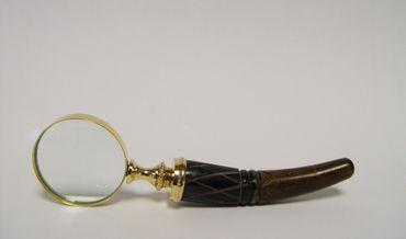 Golden magnifying glass metal elegant design reading help wooden handle