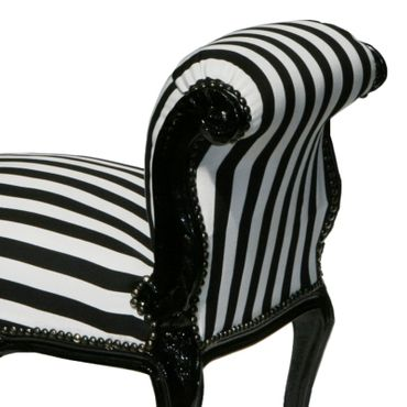Furniture retro, lounge bench, in black/white stripes with black frame – image 3