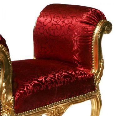 Dark red with intricate pattern solid wood bench seat in noble Baroque style – image 4