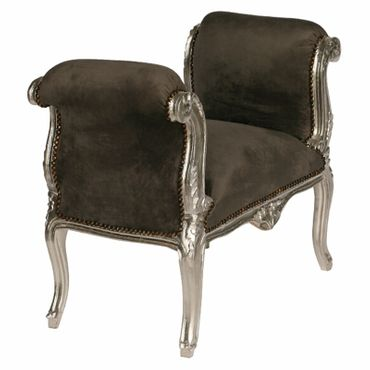 Grey solid wood bench seat in noble Baroque style – image 2