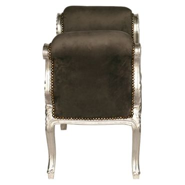 Grey solid wood bench seat in noble Baroque style – image 3