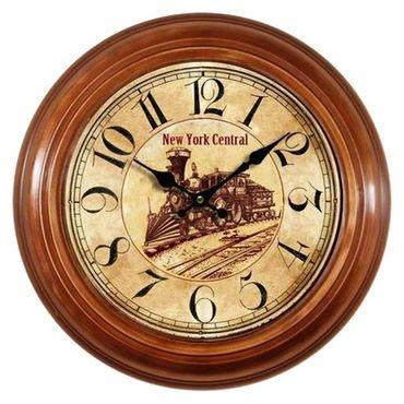 Metal wall clock nostalgic antique black digits New York Central