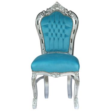 Blue Chair silver leafed wood and aqua blue velvet
