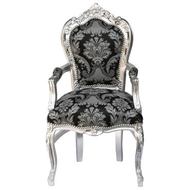 Armchair dining room black glitter fabric frame silver Antique Baroque – image 1