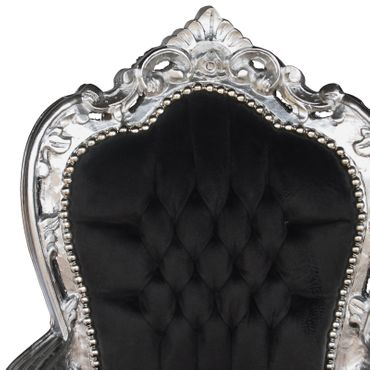 Noble chair in black fabric with silver-leafed wood – image 5