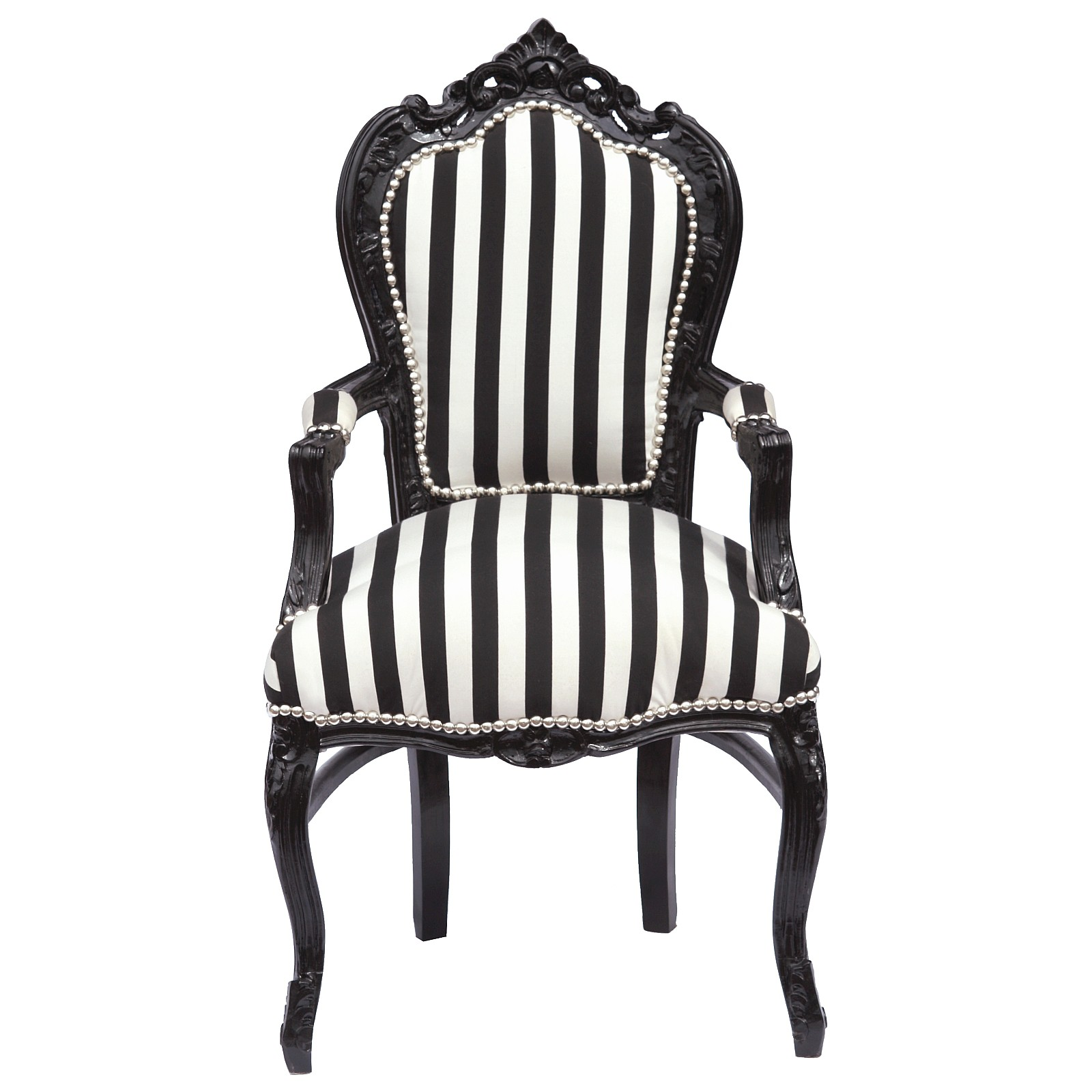 Baroque Armchair Dining Room Chair Black White Stripy Cushioning ...