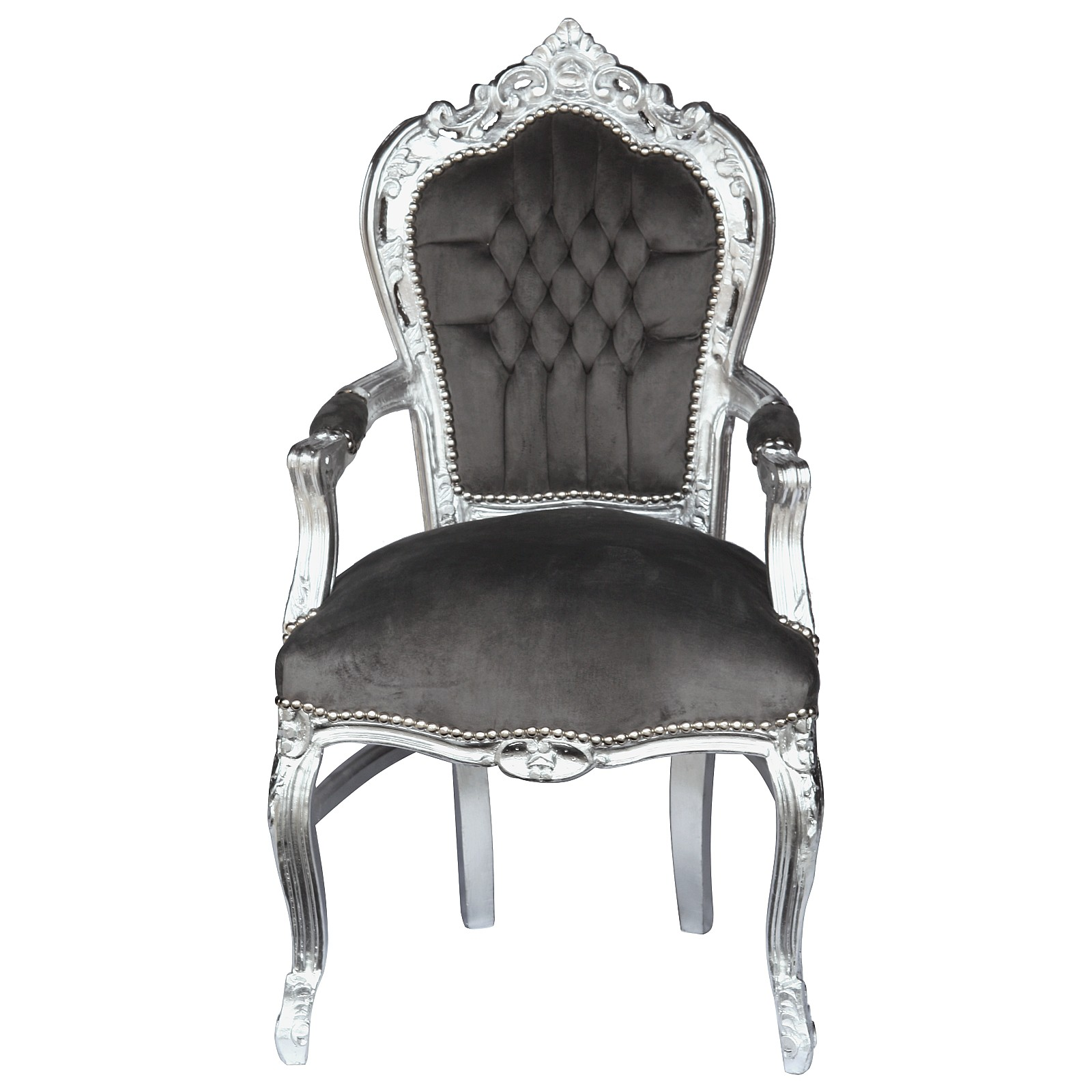 Exceptionnel Noble Chair In Dark Grey Fabric With Silver Leafed Wooden Frame U2013 Bild 1