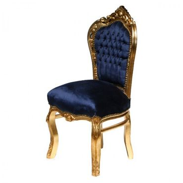 Dining room chairs, gold-leafed solid wood Navy Blue velvet – image 3