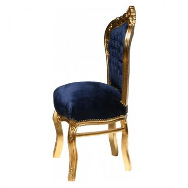 Dining room chairs, gold-leafed solid wood Navy Blue velvet – image 4